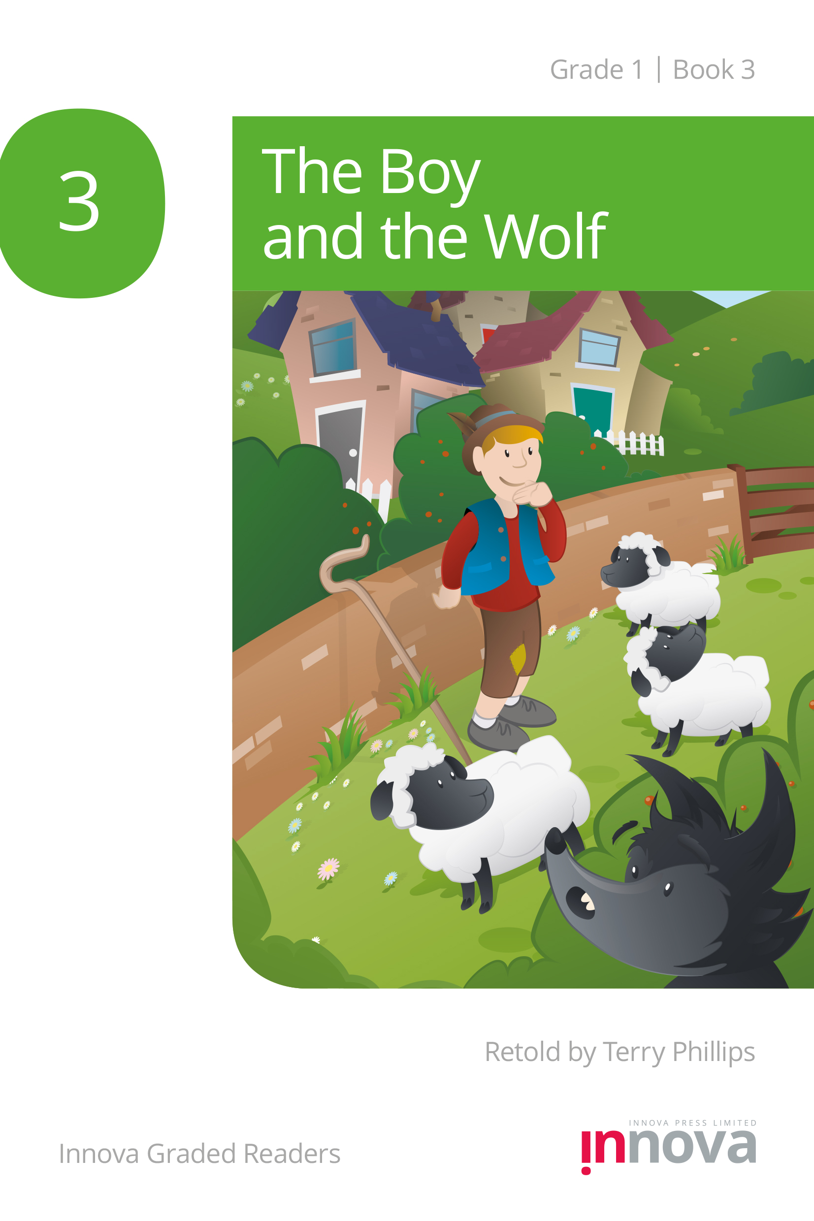 Innova Press The Boy and the Wolf cover, wolf is behind a bush watching a boy with some sheep