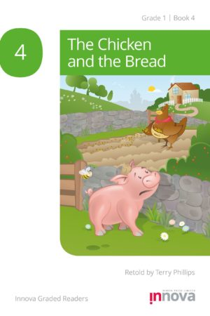 Innova Press The Chicken and the Bread cover, pig looks over stone wall at chicken throwing seed in a field