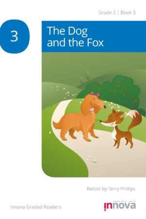Innova Press The Dog and the Fox cover, dog stands on path with fox