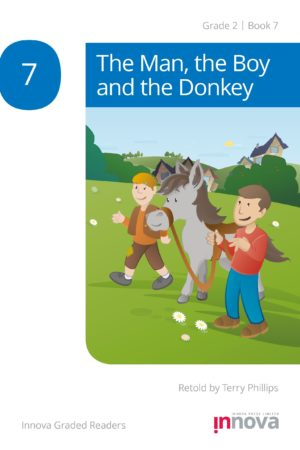Innova Press The Man the Boy and the Donkey cover, a man in a red shirt leads a donkey along with a boy in a brown jacket
