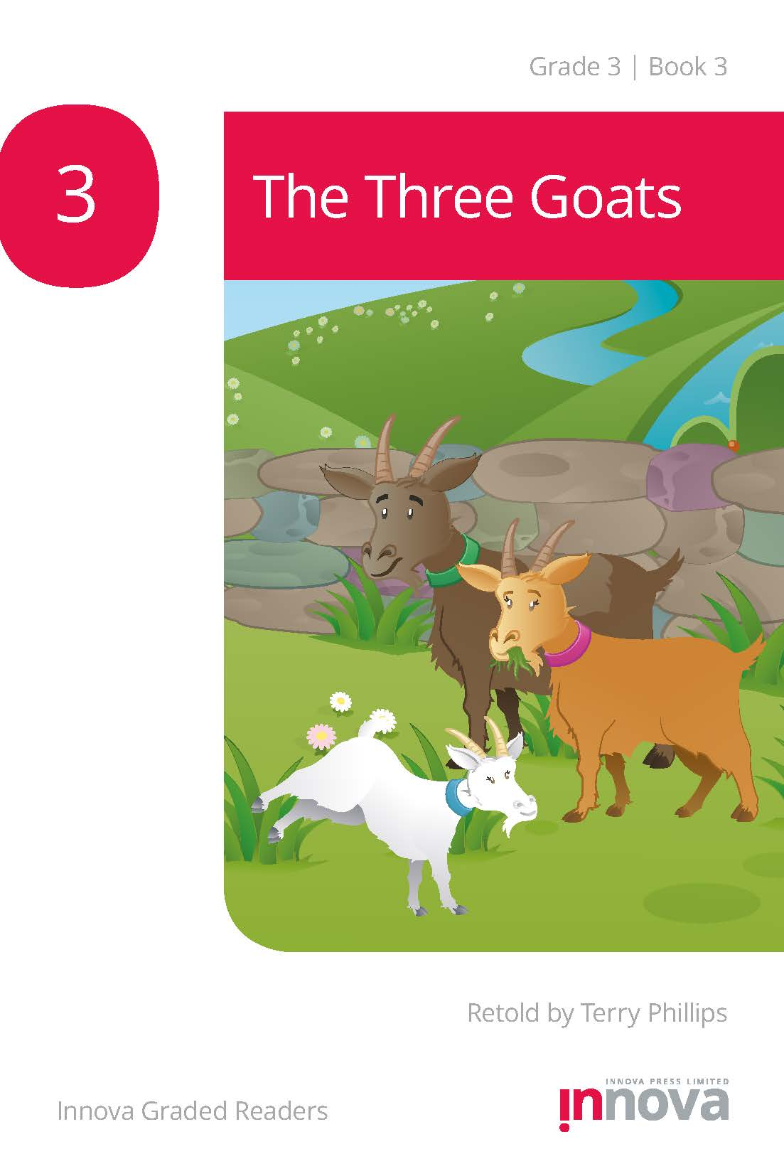 Innova Press The Three Goats cover, a dark brown goat stands with a light brown goat, watching a white kid goat run