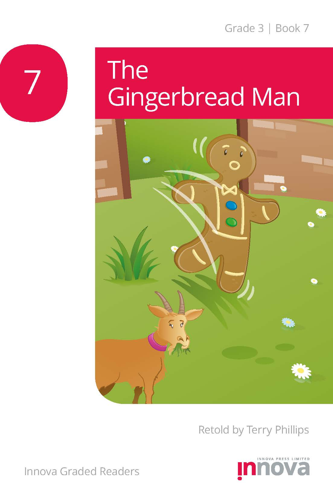 Innova Press The Gingerbread Man cover, gingerbread man runs out of doorway and past a goat