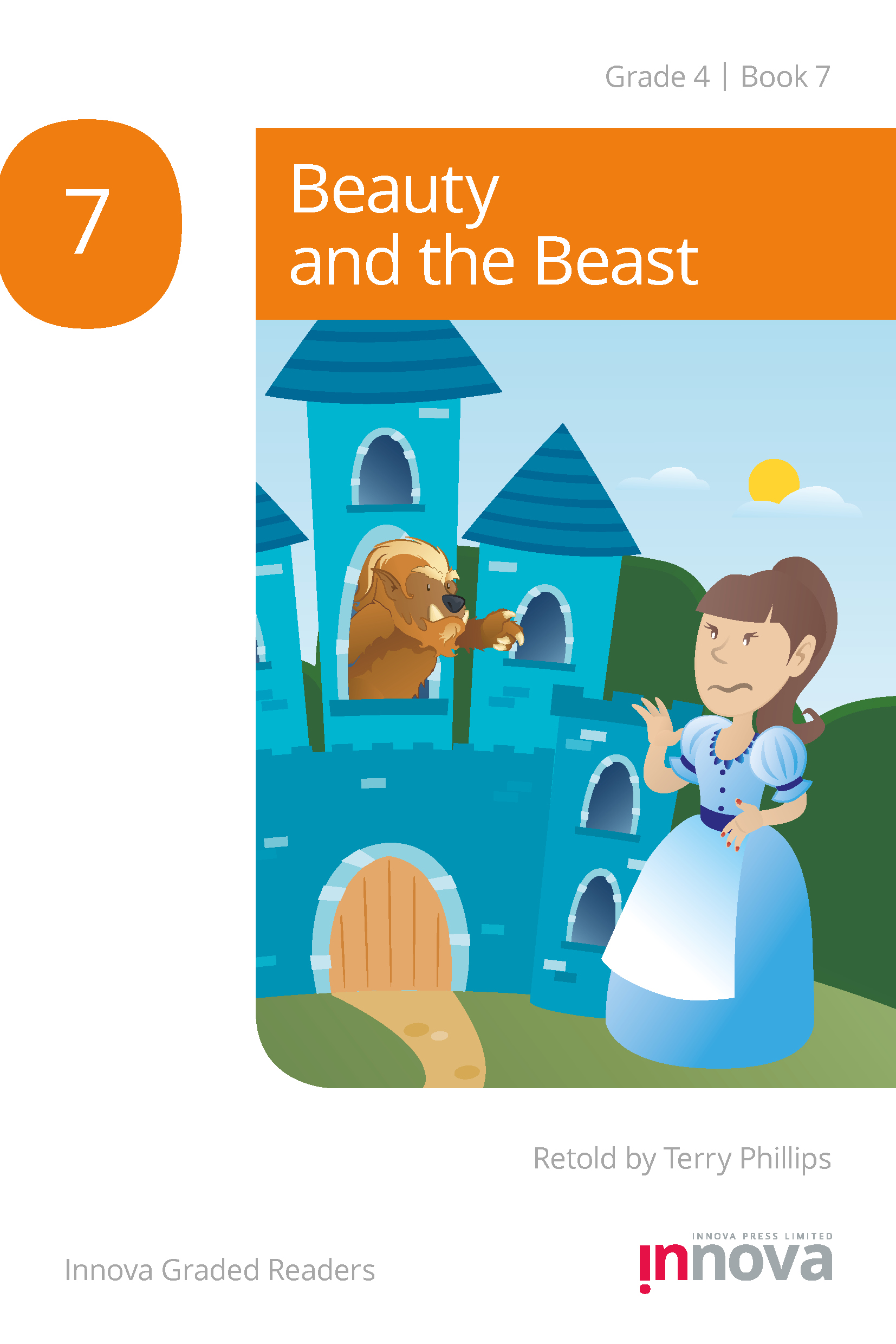 Innova Press Beauty and the Beast cover, girl in blue dress waves at a beast waving from a window of a blue castle