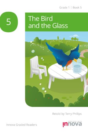 Innova Press The Bird and the Glass cover, blue bird drinks water from a glass on a table