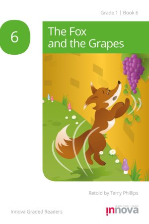 Innova Press The Fox and the Grapes cover, fox jumps up wall with grapes at the top