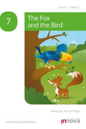 Innova Press The Fox and the Bird cover, fox stands below a bird in a tree with cheese in its beak
