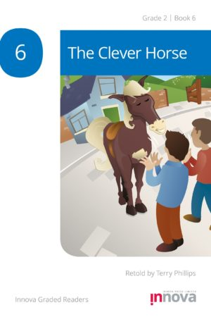 Innova Press The Clever Horse cover, two men stand in front of a horse