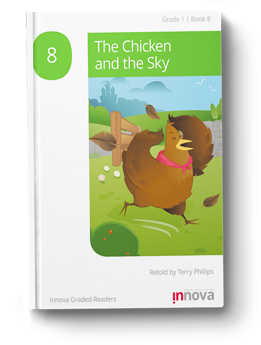 Innova Press The Chicken and the Sky cover, cartoon chicken in red scarf running across field