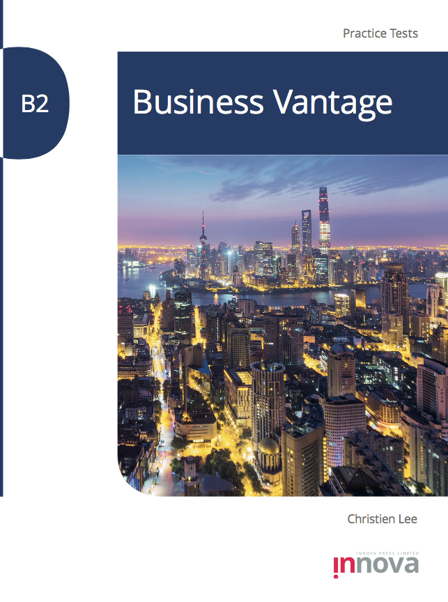 Innova Press CEQB Business Vantage Practice Tests cover, cityscape at night