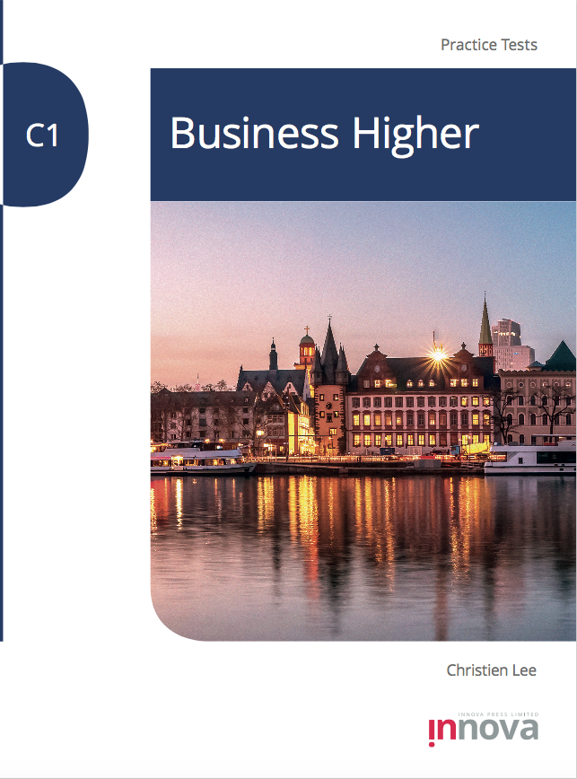 Innova Press C1 Business Higher Practice Tests cover, view of a building in the evening over a body of water